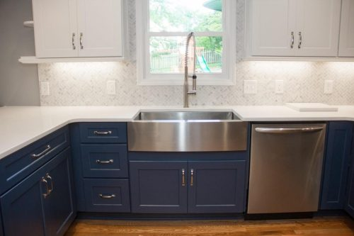 Blue cabinets with sink